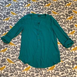 Adrianna Papell Teal 1/2 Button Down Blouse EUC S